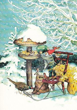 Postkarte * Zwerg füttert Vögel im Schnee