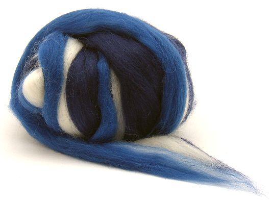 Filzwolle / Feiner multicolor Merinokammzug Blau & Weiß
