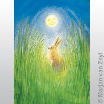 Postkarte - Der Hase und der Mond