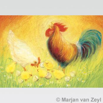 Kunstkarte Hahn mit Huh und Kücken