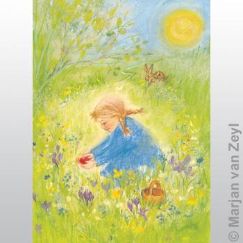 Postkarte - Rotes Osterei