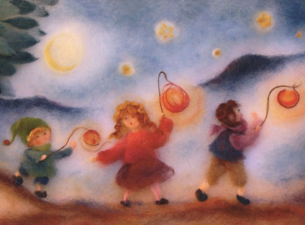 Postkarte * Kinder mit Laterne