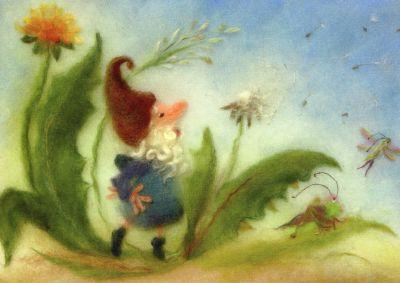 Postkarte* Wollbild Löwenzahn