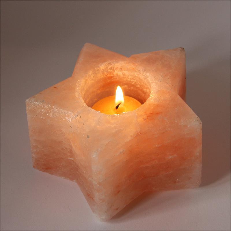Salzkristall Teelicht Stern
