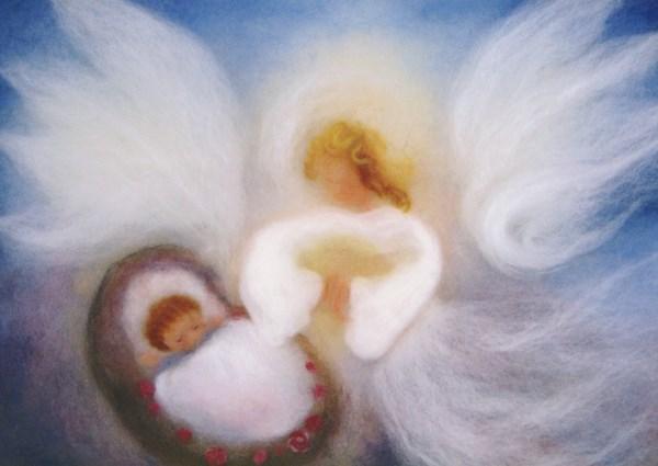 Kunstkarte * Geburt blau Wollbild