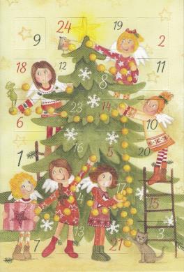 Doppenkarte  Adventskalender Tannenbaum mit Engelchen