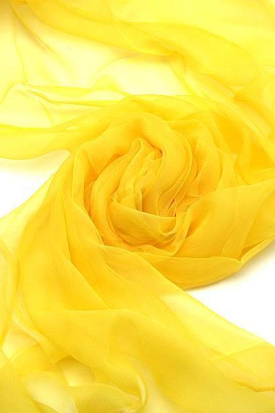 Seidenschal aus Chiffon 180 x 55 cm Zitronengelb