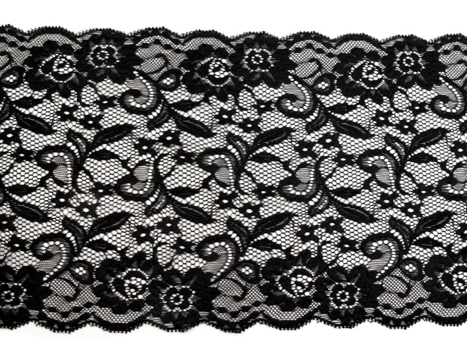 Extrabreite Wäschespitze in schwarz