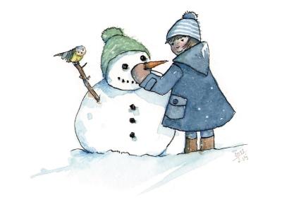 Postkarte* Schneemann mit Kind