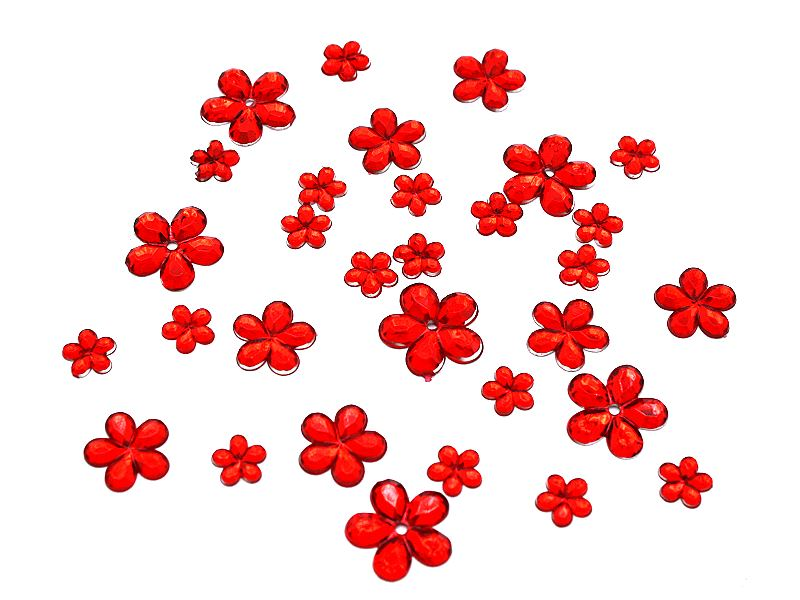 Strassblüten aus Acryl in rot