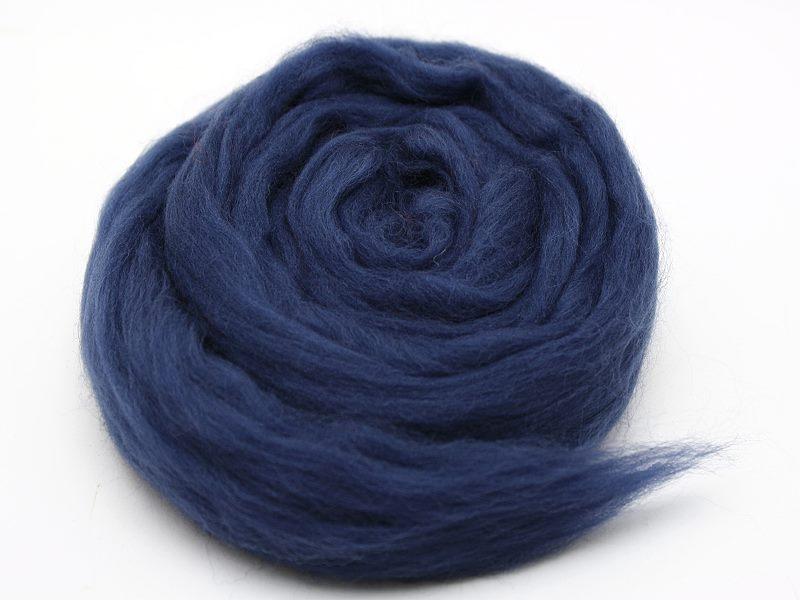 Filzwolle / Extrafeine Merinowolle im Kammzug Nachtblau