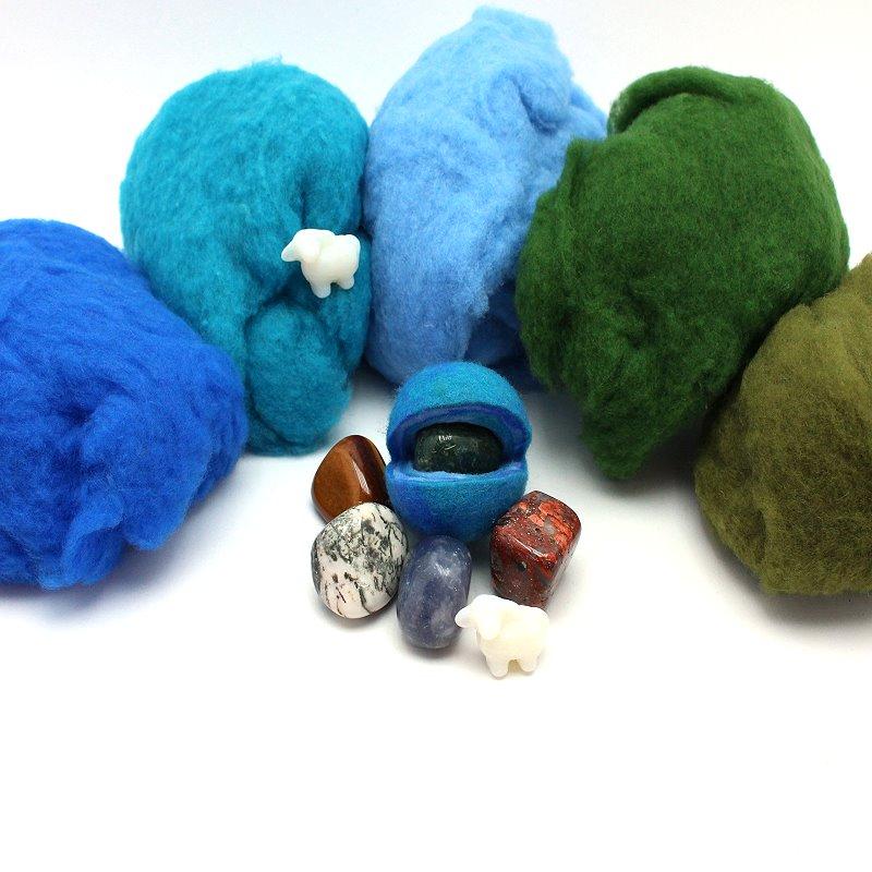 Filzset Zaubersteine blau / grün
