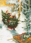 Postkarte Frauen Tannenbaum und Schneegeist