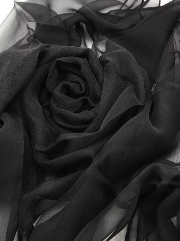 Seidenschal aus Chiffon 180 x 55 cm Schwarz