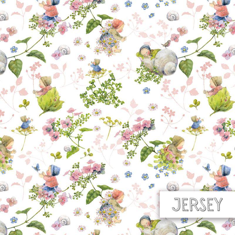 Jersey Baumwollstoff Blütenbabies rosa 145 cm
