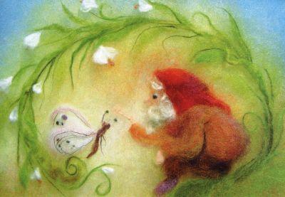 Kunstkarte * Wollbild Zwerg mit Schmetterling