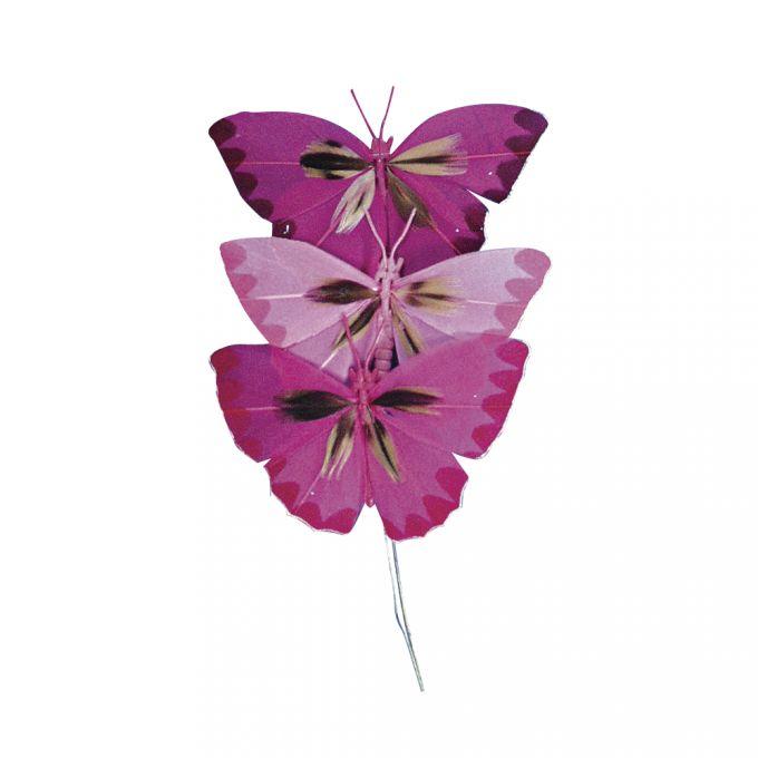 3 Schmetterlinge aus Federn rosa
