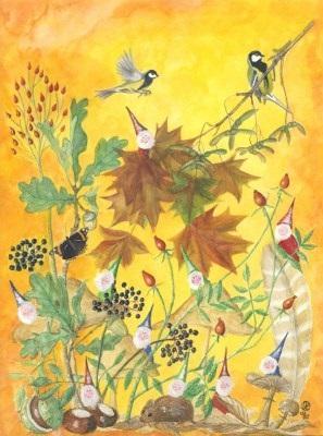 Kunstkarte * Herbstzwerge