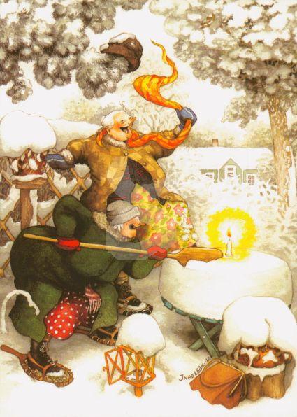 Postkarte * Frauen und Kerze im Schnee