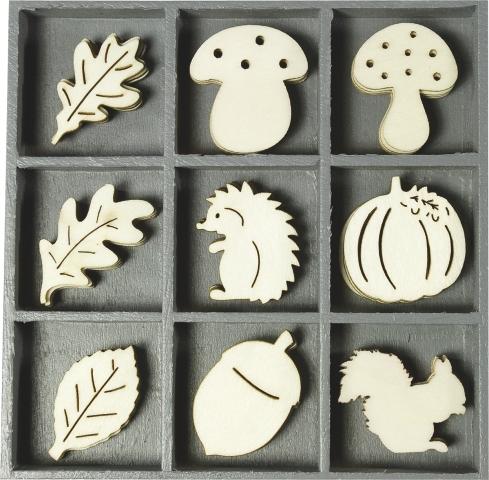 Holzbox Ornament Igel, Pilz und Blatt