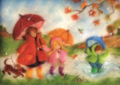 Kunstkarte * Regentag Wollbild