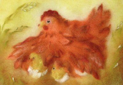 Kunstkarte * Wollbild Die rote Henne