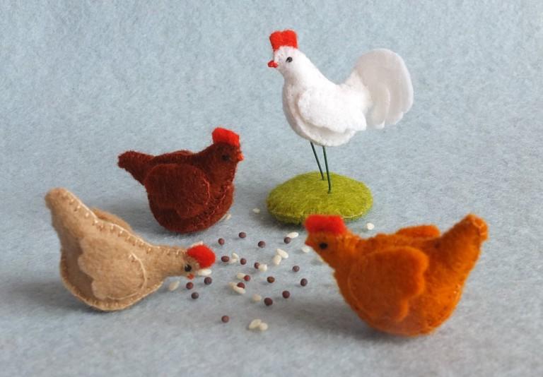 Bastelpackung drei Hühner & Hahn Atelier Pippilotta