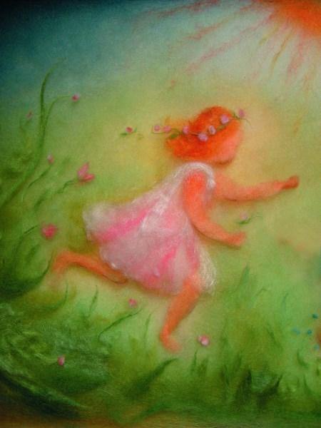 *Postkarte Wollbild Frühlingskind