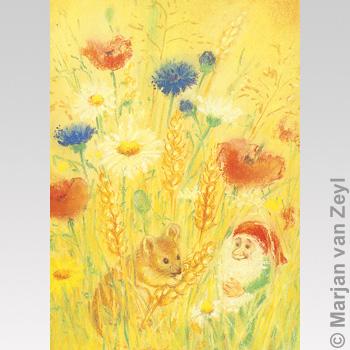 Postkarte Sommermaus mit Zwerg