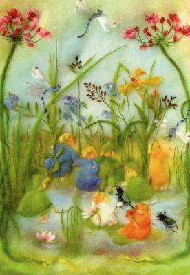 Kunstkarte * Wollbild Wurzelkinder am Teich