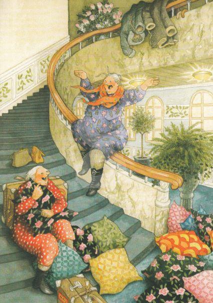 Postkarte * Frauen rutschen Treppengeländer