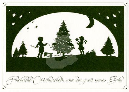 Postkarte Fröhliche Weihnachten Scherenschnitt