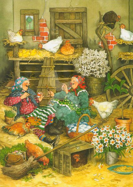 Postkarte * Frauen bei den Hühnern