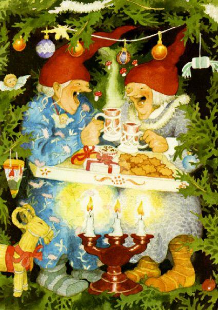 Postkarte Frauen feiern Weihnachten