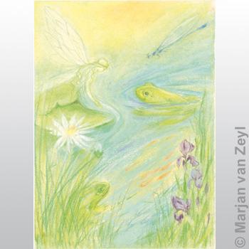 Postkarte Nymphen und Frösche am Teich