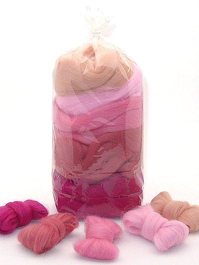 Filzwolle/ Bunt, gemischter Merinokammzug in Rosatönen 100 g