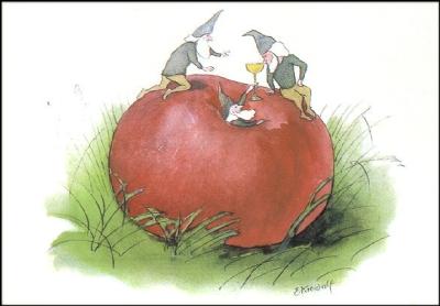Kunstkarte* Zwerge mit Apfel