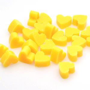 10 Mini-mini Herz Schafmilchseifen Sonnenblume