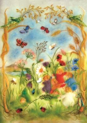 Kunstkarte * Wollbild Wiesenkinder