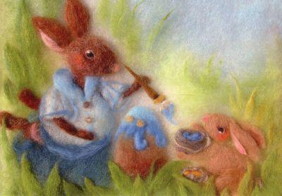 Kunstkarte * Wollbild Eiermalerei