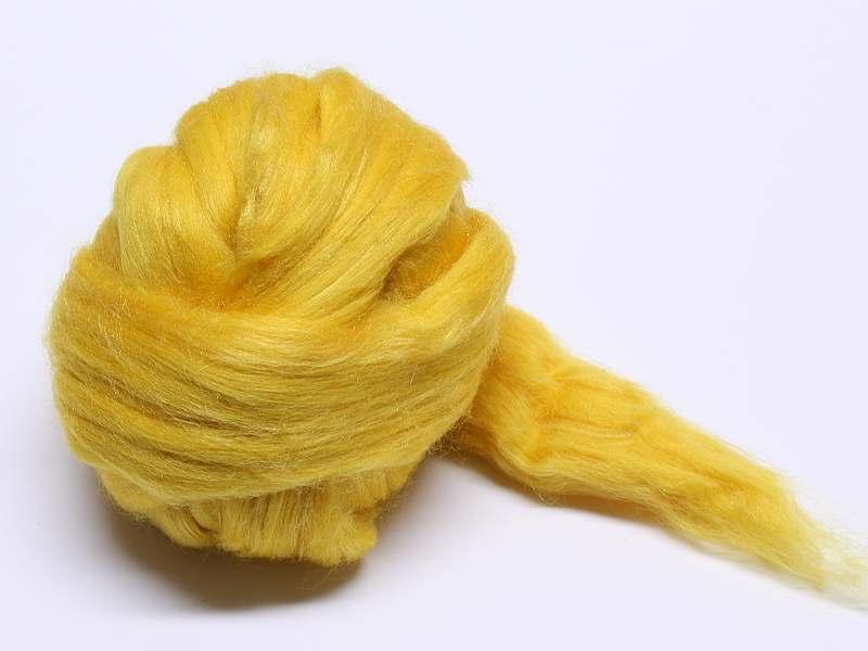 Filzwolle / Extrafeine Merinowolle mit Maulbeerseide Gelb