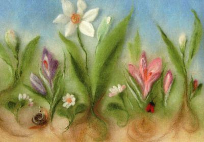 Kunstkarte * Wollbild Frühlingserwachen