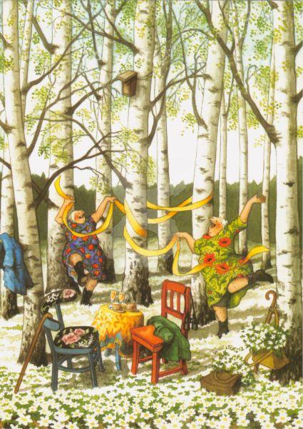 * Postkarte Frauen im Birkenwald