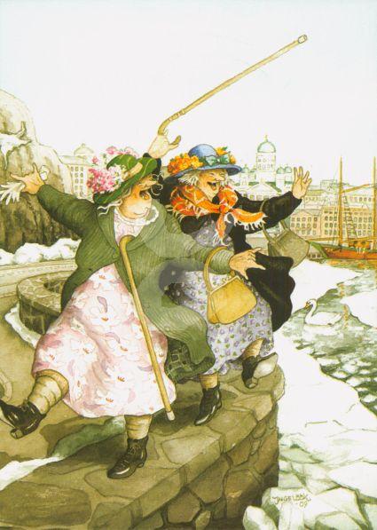 Postkarte * Frauen auf der Hafenmauer