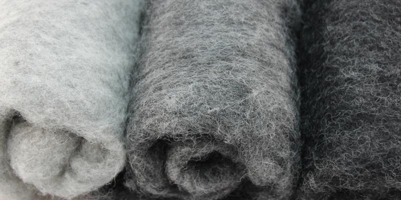 Neuseeland Filzwolle in hellgrau meliert