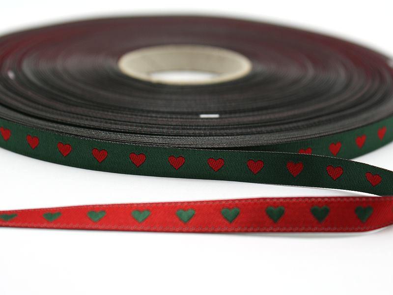 Webband Herzchen grün / rot