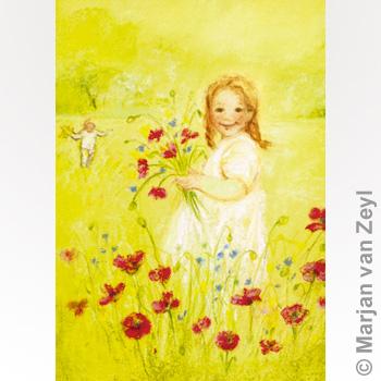 Kunstkarte Blumen pflücken