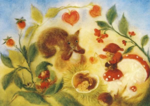 Postkarte Wollbild Zwerge im Herbst