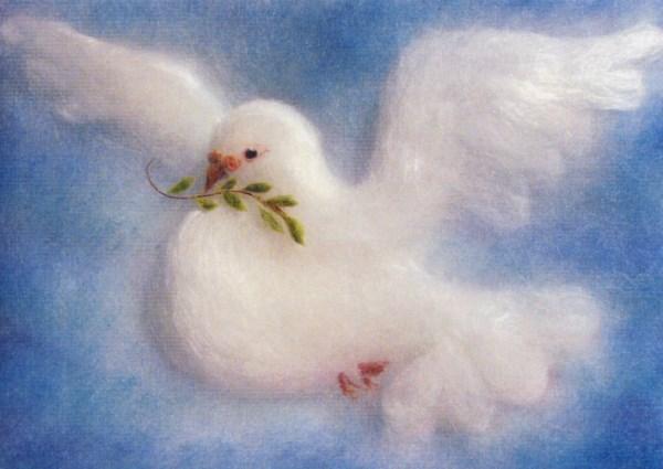 Kunstkarte * Friedenstaube Wollbild
