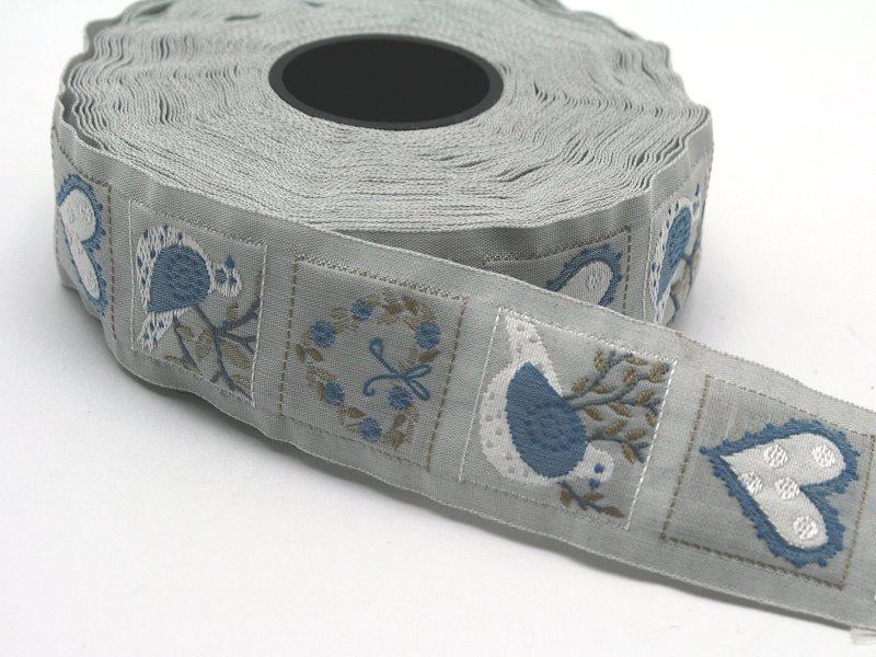 Schmuckwebband Vögel und Herzen blau